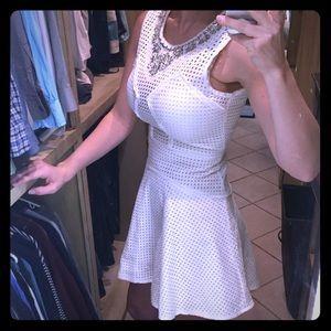 BCBGMaxAzria Sleeveless Eyelet Dress in White